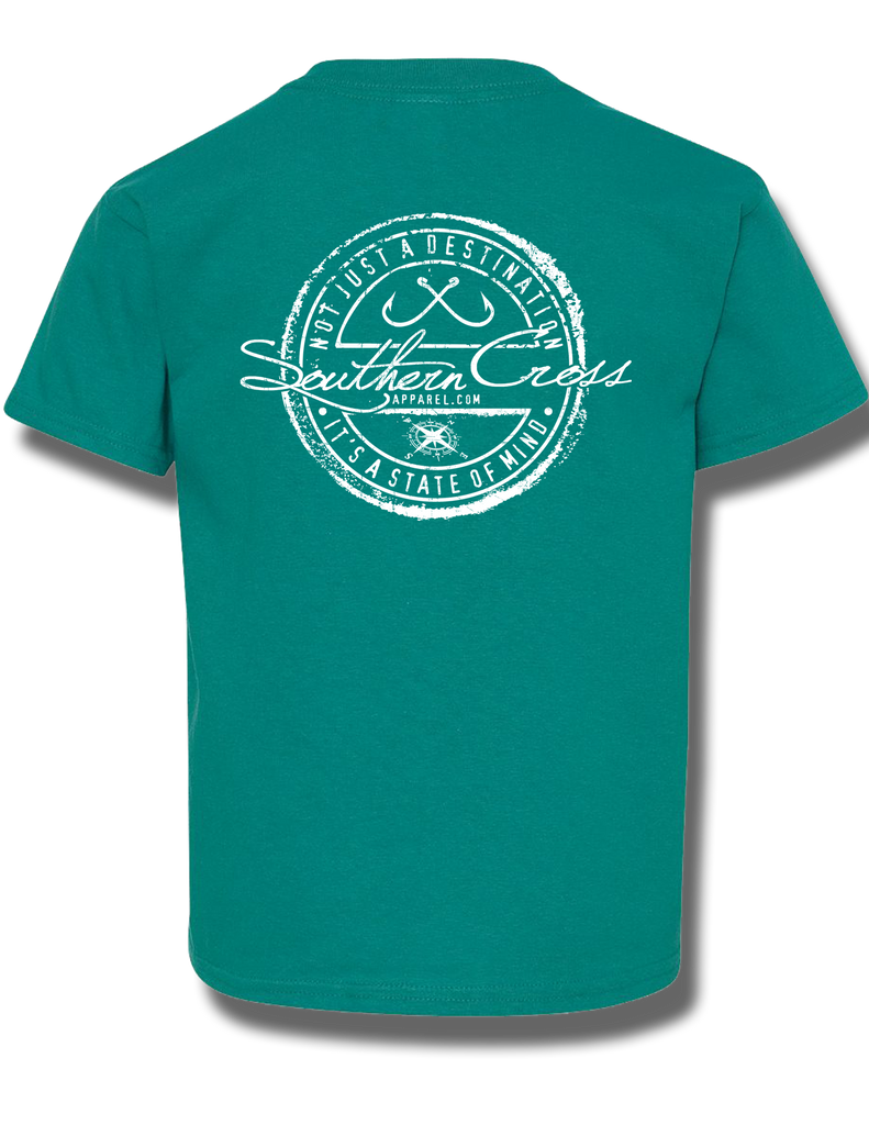 Fishing Stamp Tropical Blue Youth Short Sleeve XS, T-Shirts - Southern Cross Apparel