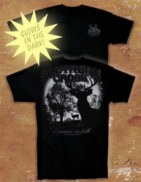 Glow Deer Black Youth Short Sleeve Large, T-Shirts - Southern Cross Apparel