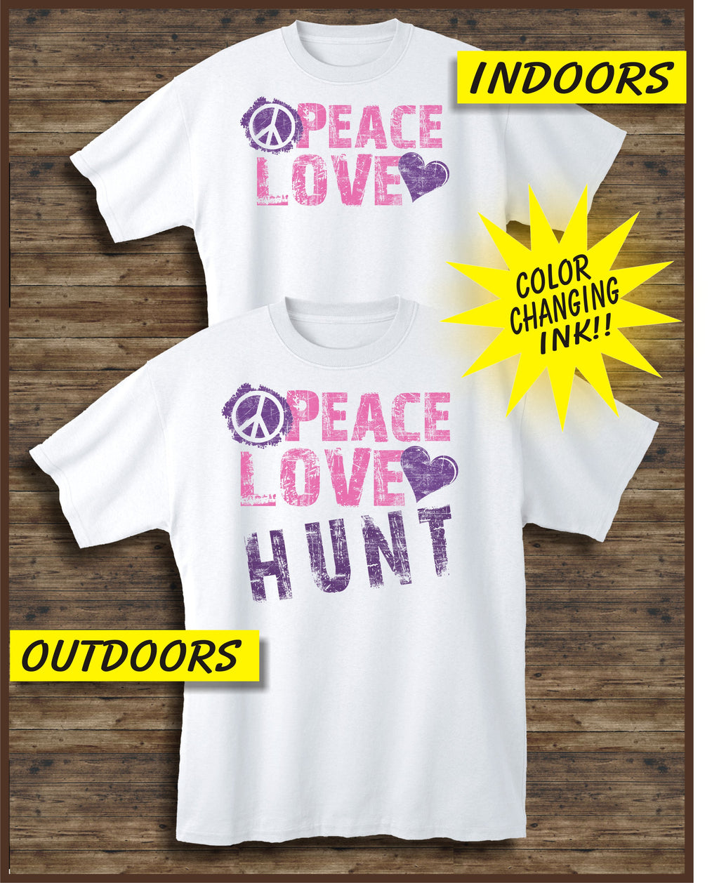 Peace Love Hunt White Youth Short Sleeve S