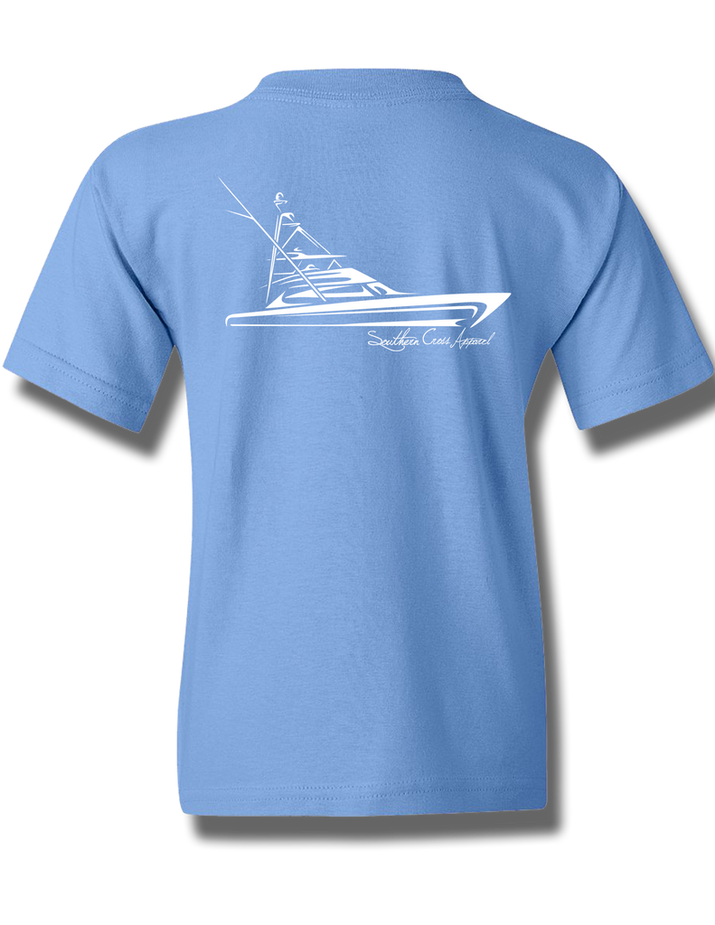 Tribal Sportfisher Carolina Blue Youth Short Sleeve XS, T-Shirts - Southern Cross Apparel