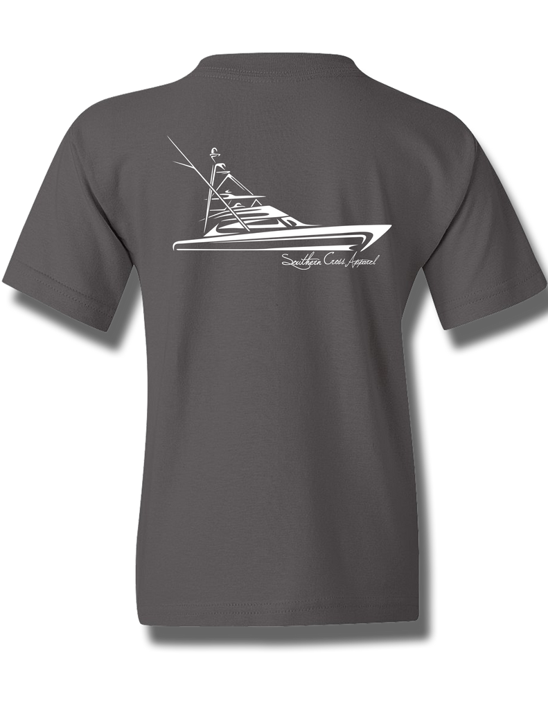 Tribal Sportfisher Charcoal Youth Short Sleeve XS, T-Shirts - Southern Cross Apparel