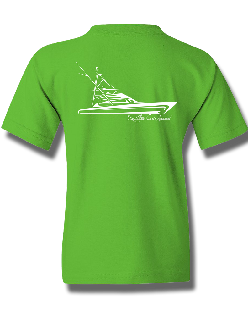 Tribal Sportfisher Electric Green Youth Short Sleeve M, T-Shirts - Southern Cross Apparel