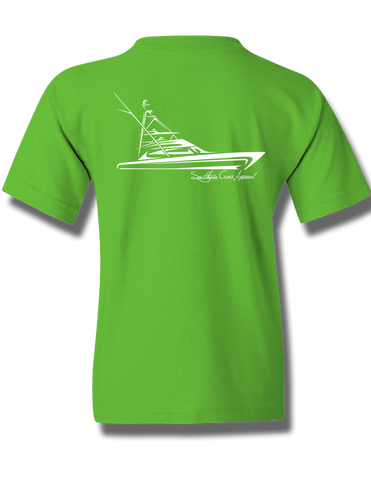 Tribal Sportfisher Electric Green Youth Short Sleeve M