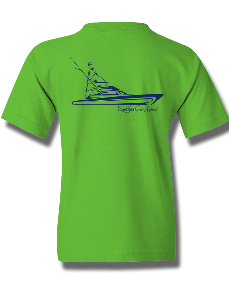 Tribal Sportfisher Electric Green w Navy Youth Short Sleeve XS, T-Shirts - Southern Cross Apparel