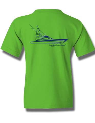Tribal Sportfisher Electric Green w Navy Youth Short Sleeve XS