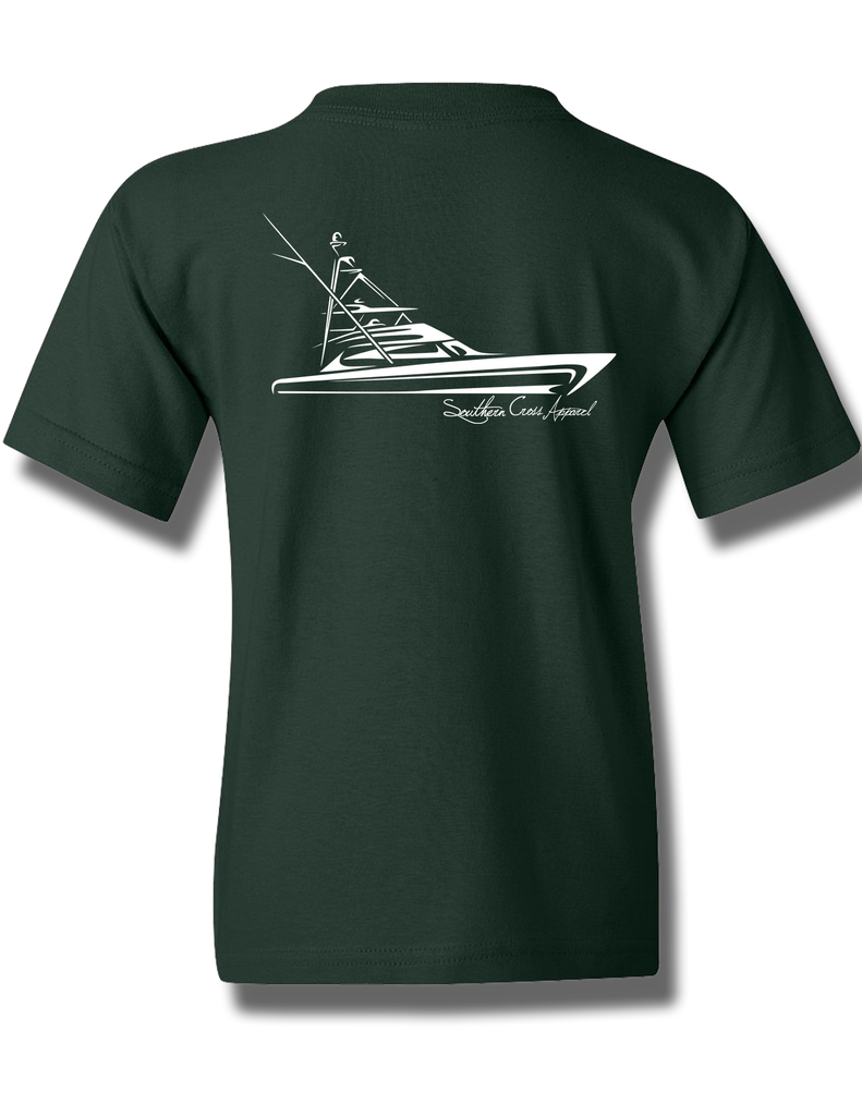 Tribal Sportfisher Forest Green Youth Short Sleeve XS, T-Shirts - Southern Cross Apparel