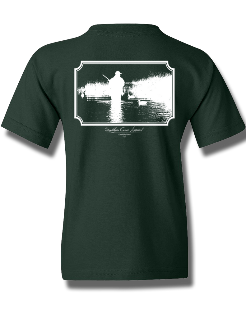 Wading Duck Hunter Forest Green Youth Short Sleeve M, T-Shirts - Southern Cross Apparel