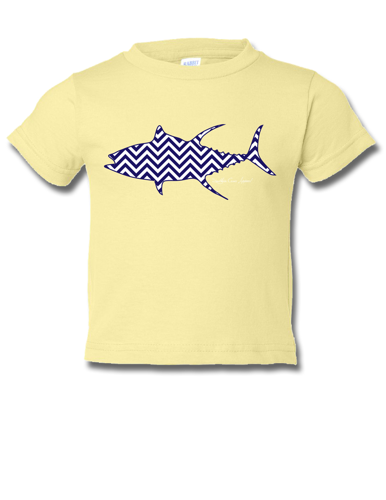 Chevron Tuna Banana / Navy Toddler SS 18mo, T-Shirts - Southern Cross Apparel