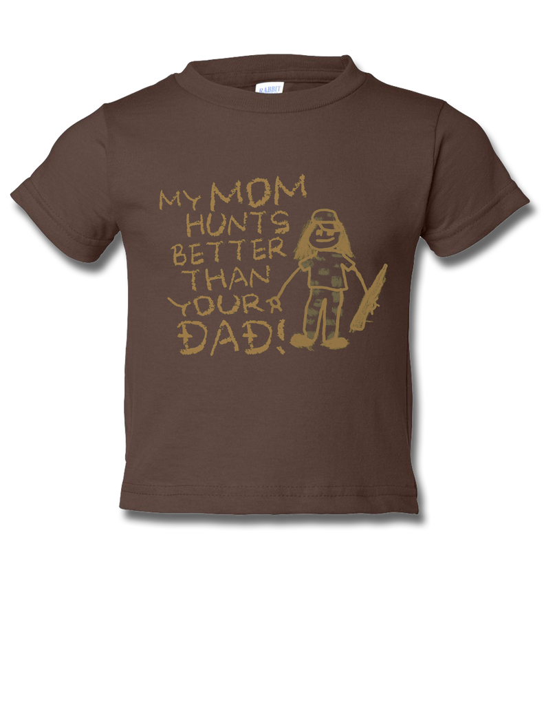 Mom Hunts Better Brown Toddler SS 12mo, T-Shirts - Southern Cross Apparel
