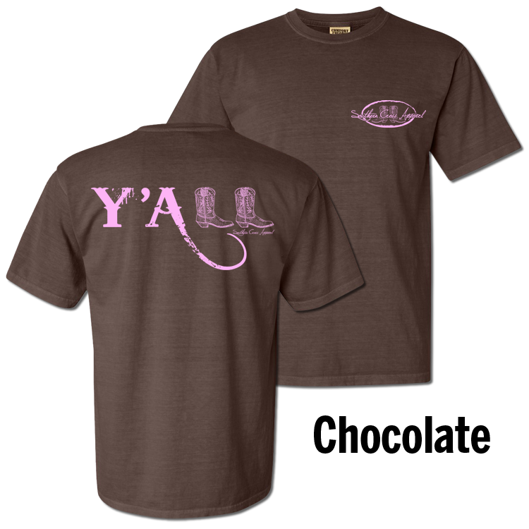 Y'all Short Sleeve Chocolate with Pink Print Small, T-Shirts - Southern Cross Apparel