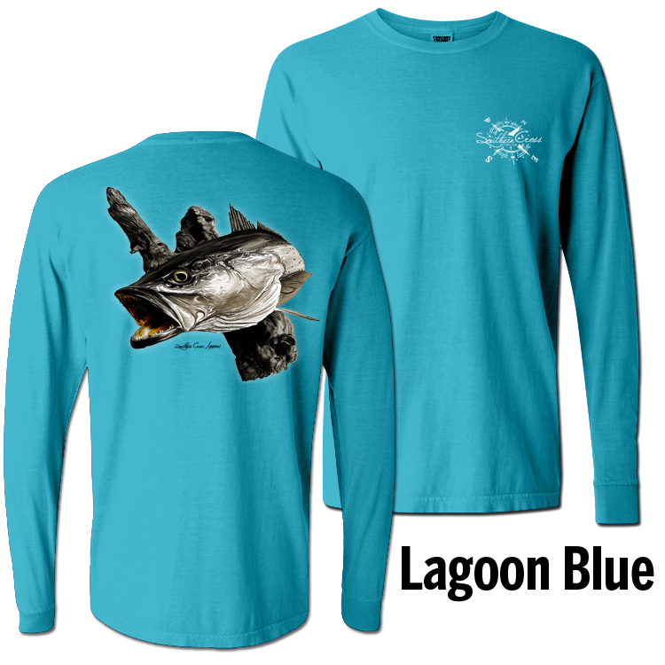 Trout Long Sleeve Lagoon Blue Small, T-Shirts - Southern Cross Apparel