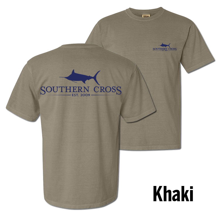 SCA Logo Khaki (Navy Print) Short Sleeve with Pocket Small, T-Shirts - Southern Cross Apparel