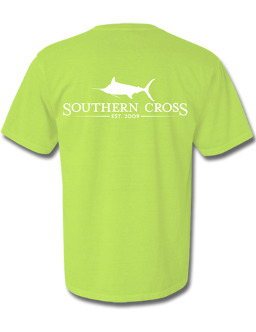SCA Logo with White Print Short Sleeve Kiwi  X-Large