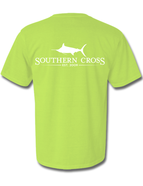 SCA Logo Kiwi with White Print Short Sleeve Small, T-Shirts - Southern Cross Apparel