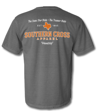 Texas Proudly Stated Short Sleeve Grey/Orange Small, T-Shirts - Southern Cross Apparel