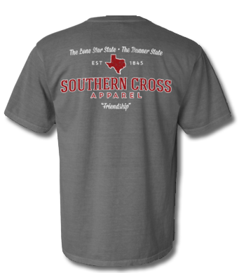 Texas Proudly Stated Short Sleeve Grey/Maroon Small, T-Shirts - Southern Cross Apparel