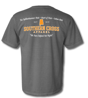 Alabama Proudly Stated (Orange/White) Short Sleeve Grey Small, T-Shirts - Southern Cross Apparel