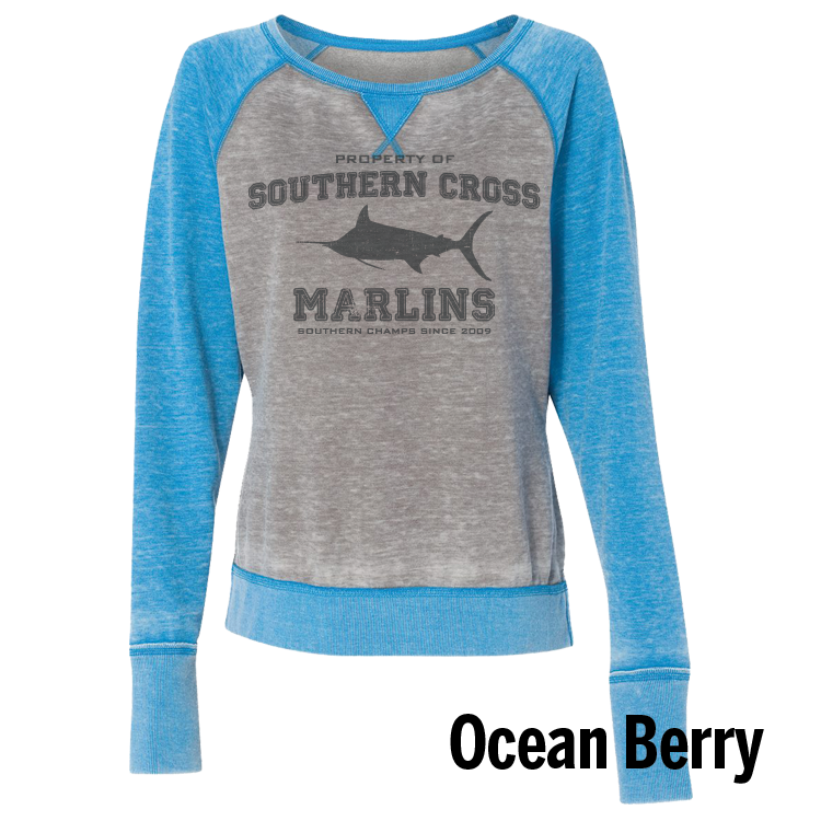 Go Marlins Raglan Ladies Sweatshirt, Sweatshirt - Southern Cross Apparel