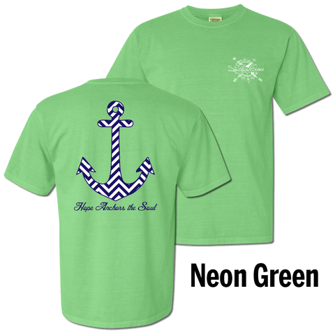 Chevron Hope Anchors Short Sleeve Neon Green Small, T-Shirts - Southern Cross Apparel