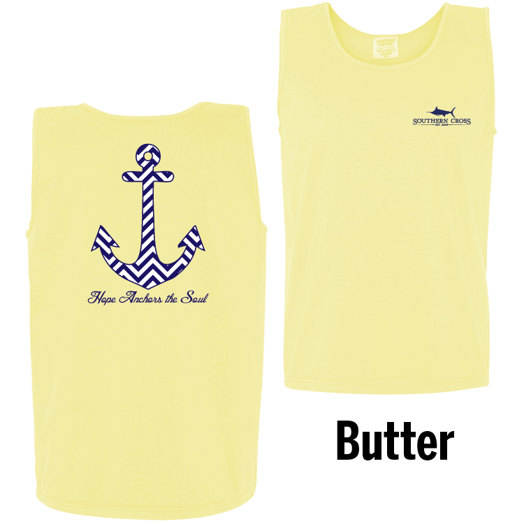 Chevron Hope Anchors Tank Top Butter Small, Tank Top - Southern Cross Apparel