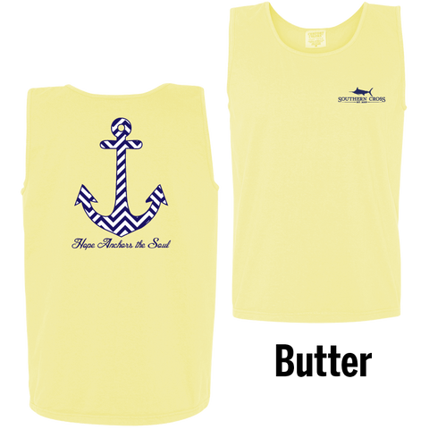 Chevron Hope Anchors Tank Top Butter Large
