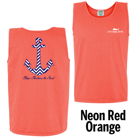 Chevron Hope Anchors Tank Top Neon Red Orange Large