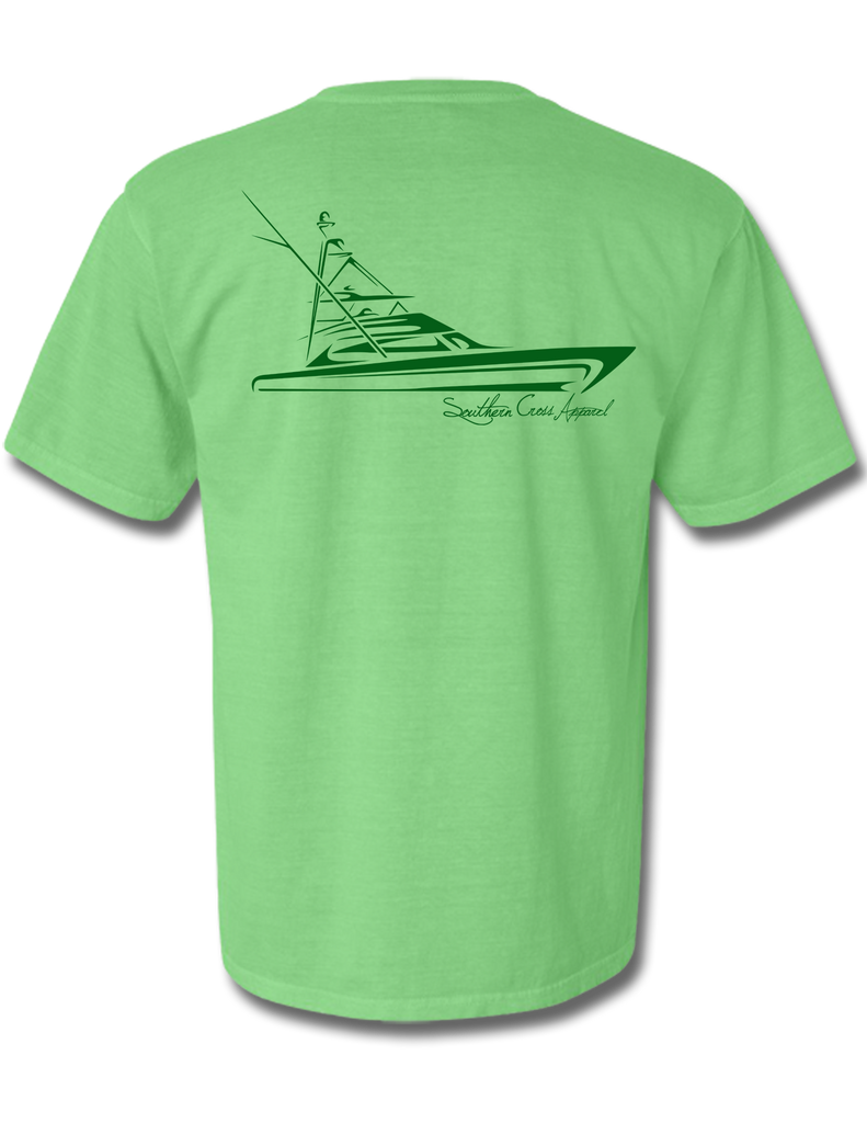 Tribal Sportfisher Short Sleeve Neon Green with Dark Green Print Small, T-Shirts - Southern Cross Apparel