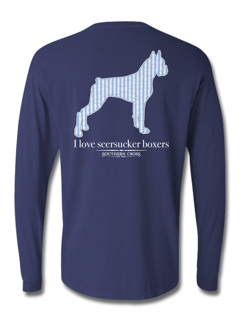 Seersucker Boxer Long Sleeve True Navy X-Large, T-Shirts - Southern Cross Apparel