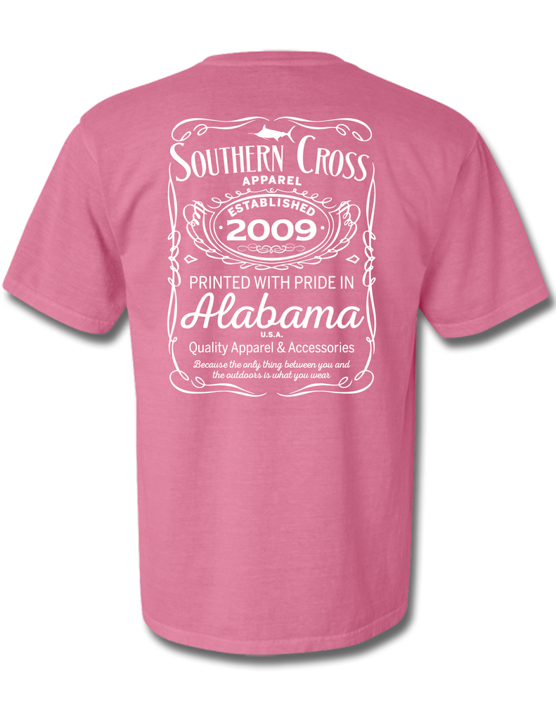 Whiskey Label Short Sleeve Crunchberry Large, T-Shirts - Southern Cross Apparel