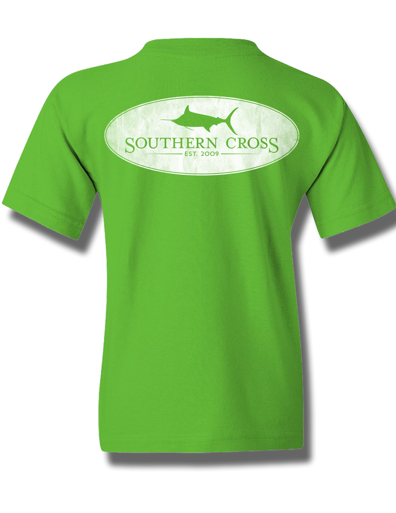 Marlin Oval Electric Green Youth Short Sleeve S, T-Shirts - Southern Cross Apparel