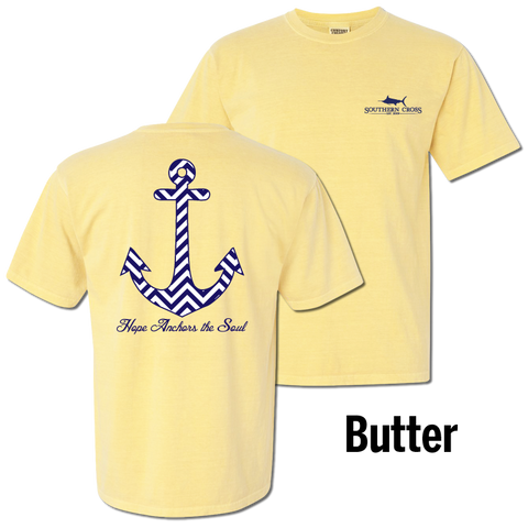 Chevron Hope Anchors Short Sleeve Butter Small, T-Shirts - Southern Cross Apparel