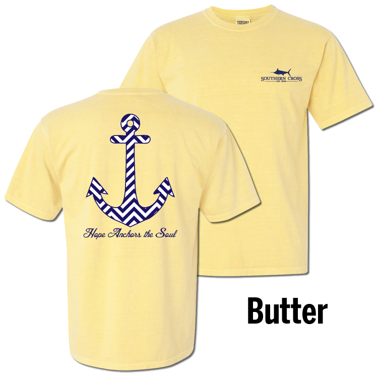 Chevron Hope Anchors Short Sleeve Butter Large, T-Shirts - Southern Cross Apparel
