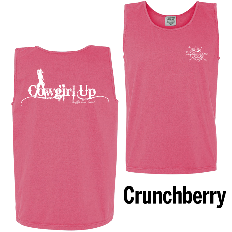 Cowgirl Up Tank Top Crunchberry Large, Tank Tops - Southern Cross Apparel