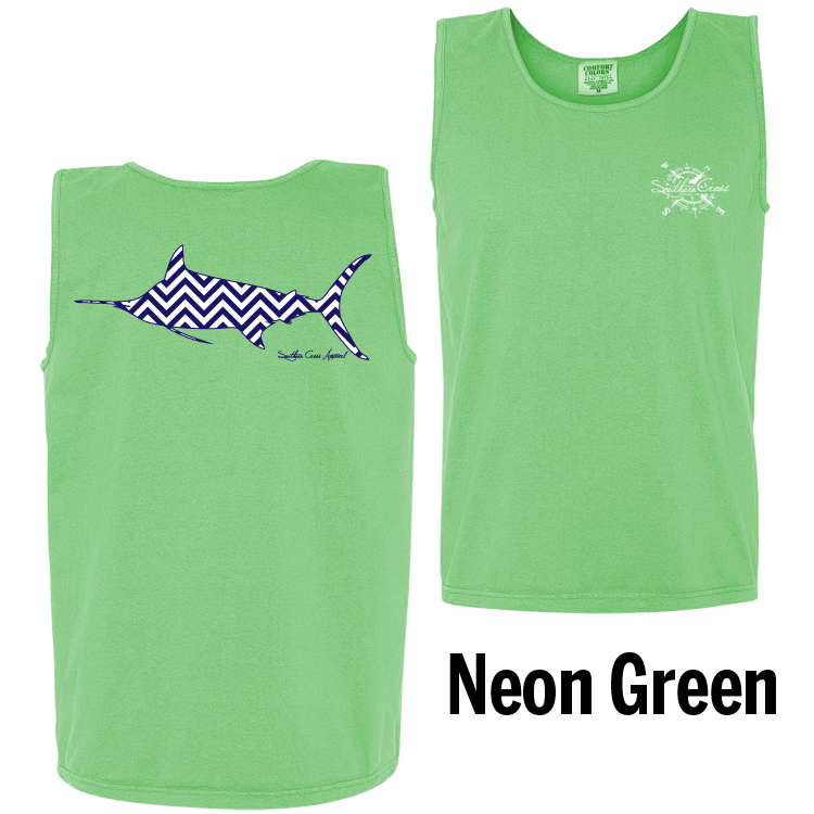 Chevron Marlin N/W Tank Top Neon Green Small, Tank Tops - Southern Cross Apparel