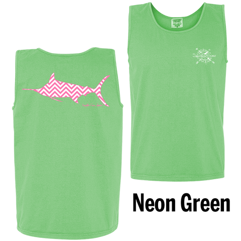 Chevron Marlin P/W Tank Top Neon Green Small, Tank Tops - Southern Cross Apparel