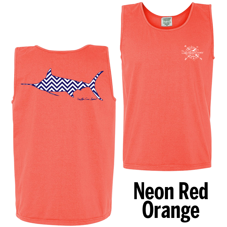 Chevron Marlin N/W Tank Top Neon Red Orange Small, Tank Tops - Southern Cross Apparel