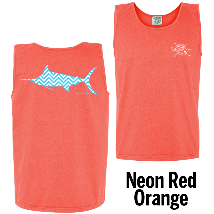 Chevron Marlin A/W Tank Top Neon Red Orange Small, Tank Tops - Southern Cross Apparel