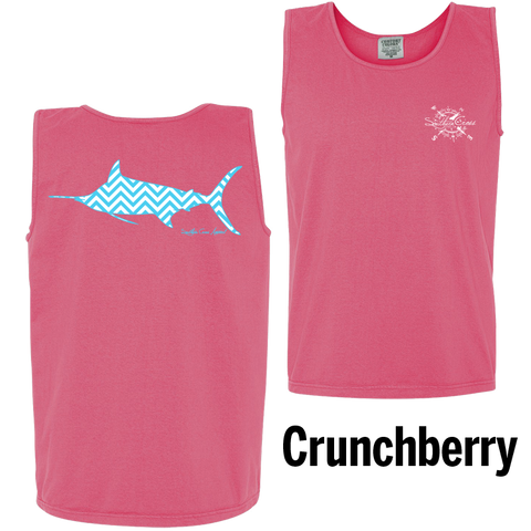 Chevron Marlin A/W Tank Top Crunchberry Small, Tank Tops - Southern Cross Apparel