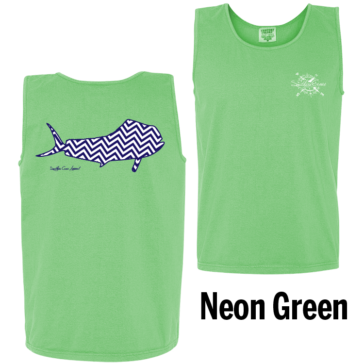 Chevron Mahi N/W Tank Top Neon Green Small, Tank Tops - Southern Cross Apparel