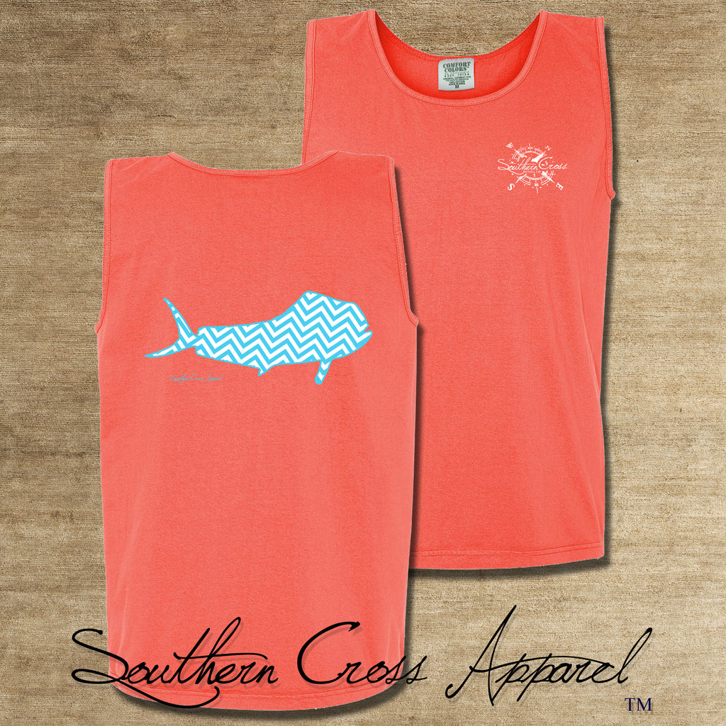 Chevron Mahi A/W Tank Top Neon Red Orange Small, Tank Tops - Southern Cross Apparel