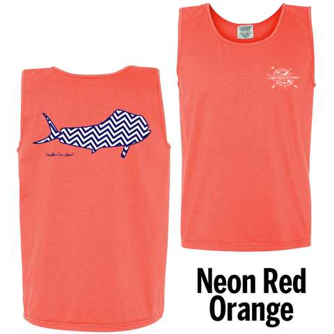 Chevron Mahi N/W Tank Top Neon Red Orange Small, Tank Tops - Southern Cross Apparel