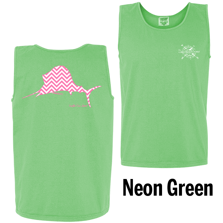 Chevron Sailfish P/W Tank Top Neon Green Small, Tank Tops - Southern Cross Apparel