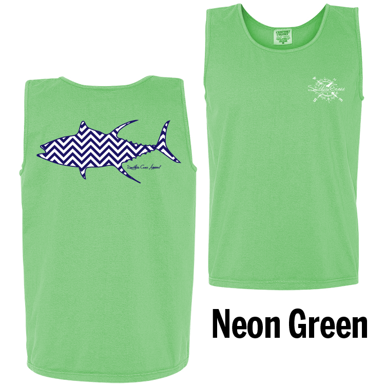 Chevron Tuna N/W Tank Top Neon Green Small, Tank Tops - Southern Cross Apparel