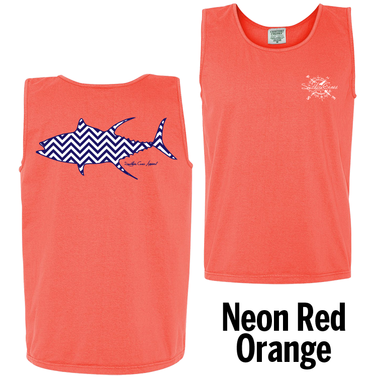 Chevron Tuna N/W Tank Top Neon Red Orange Small, Tank Tops - Southern Cross Apparel