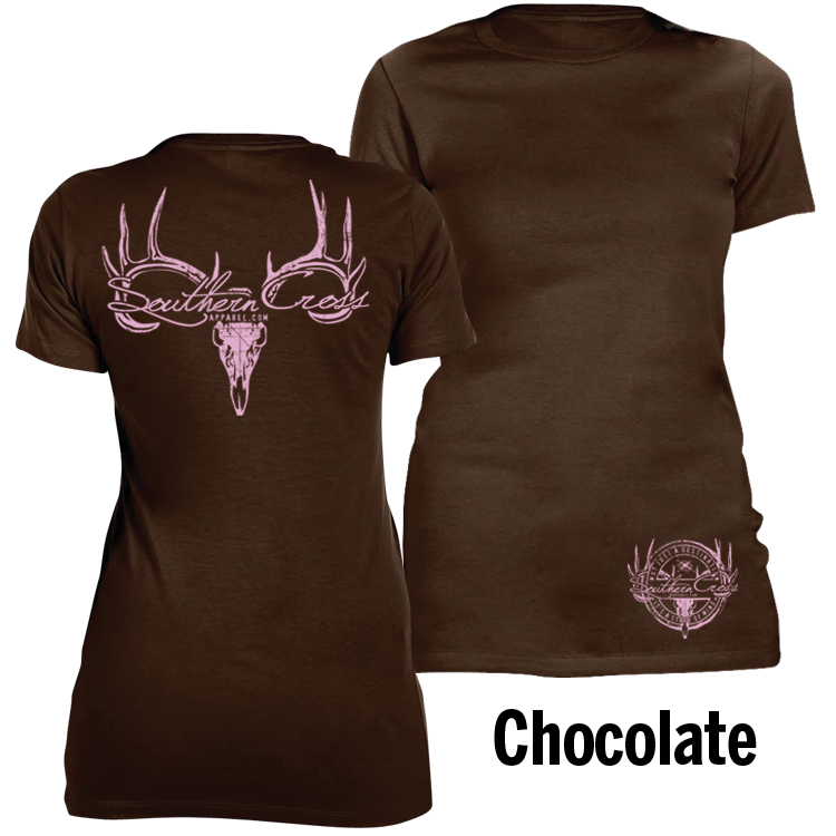 Deer Skull Logo Chocolate Large, T-Shirts - Southern Cross Apparel