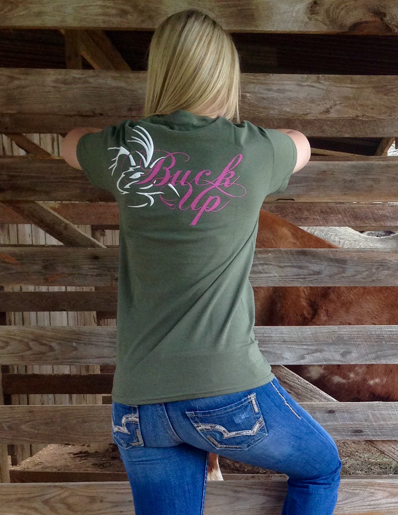 Buck Up Long Sleeve Military Green Medium, T-Shirts - Southern Cross Apparel