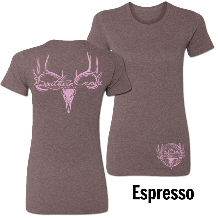 Deer Skull Logo Espresso X-Large, T-Shirts - Southern Cross Apparel
