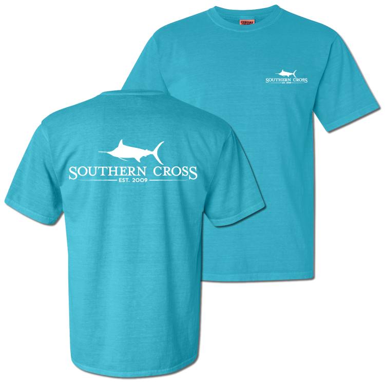 SCA Logo Lagoon Blue Short Sleeve with Pocket Small, T-Shirts - Southern Cross Apparel