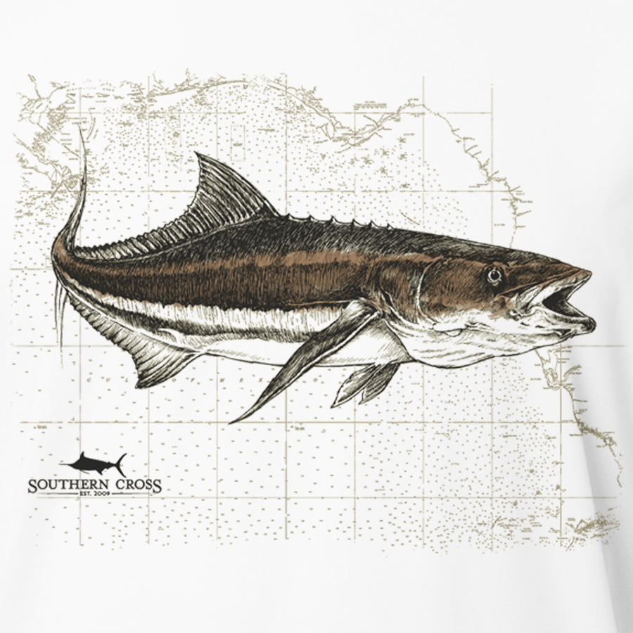 Cobia Map Womens Performance, Womens LS Performance - Southern Cross Apparel
