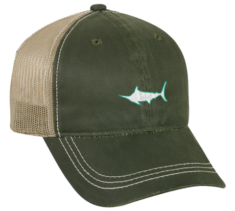 Marlin Weathered Cotton Meshback Hat, Hat - Southern Cross Apparel
